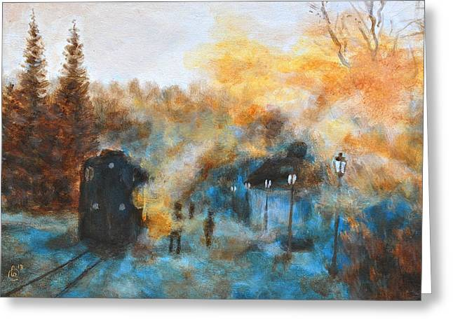 Vintage Painter Greeting Cards - Steam train Greeting Card by Jiri Capek