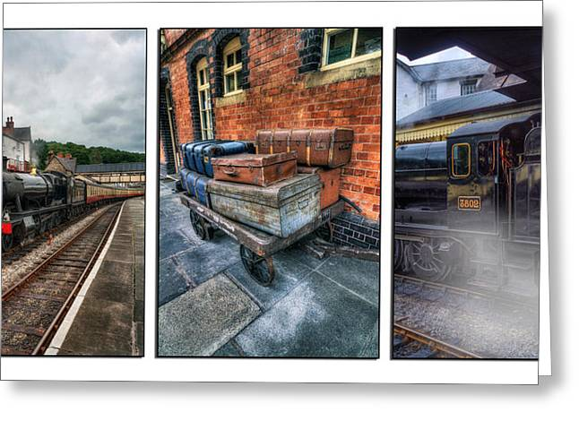 Wales Framed Prints Greeting Cards - Steam Train Memories Tryptych Greeting Card by Ian Mitchell