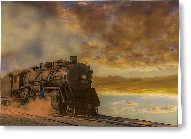 Fineartamerica Greeting Cards - Steam Train Morning Greeting Card by Randy Steele