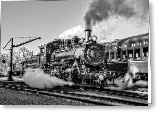 2-8-0 Greeting Cards - Steam Train No. 40 BW Greeting Card by Susan Candelario