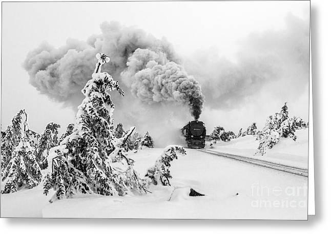 Steam Train On Brocken Mountain Greeting Card by Christian Spiller