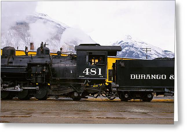 Narrow Gauge Steam Train Greeting Cards - Steam Train On Railroad Track, Durango Greeting Card by Panoramic Images