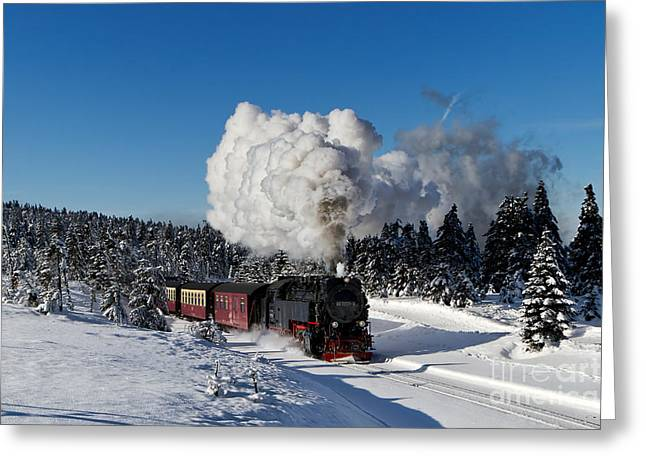 Brocken Greeting Cards - Steam train to the winterly Brocken mountain Greeting Card by Christian Spiller