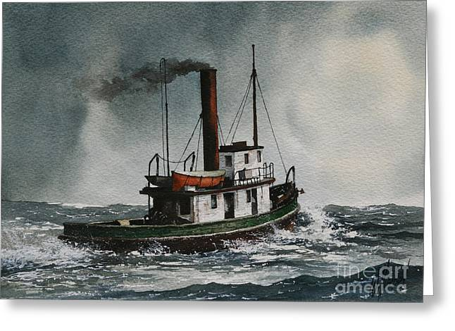 Nautical Greeting Card Greeting Cards - Steam Tugboat KATADIN Greeting Card by James Williamson