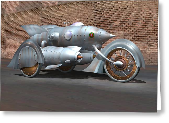 Retro Antique Greeting Cards - Steam Turbine Cycle Greeting Card by Stuart Swartz