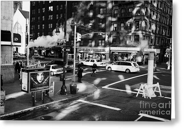 Manhatan Greeting Cards - steam vent intersection crosswalk 7th and West 14th street greenwich village new york city Greeting Card by Joe Fox