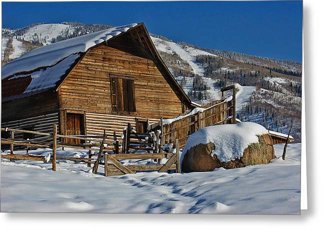 Steamboat Barn Greeting Card by Don Schwartz