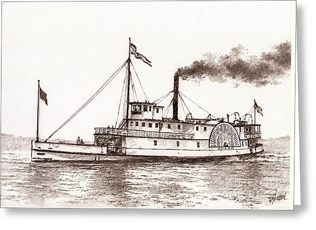 Seattle Framed Prints Greeting Cards - Steamboat IDAHO Sepia  Greeting Card by James Williamson