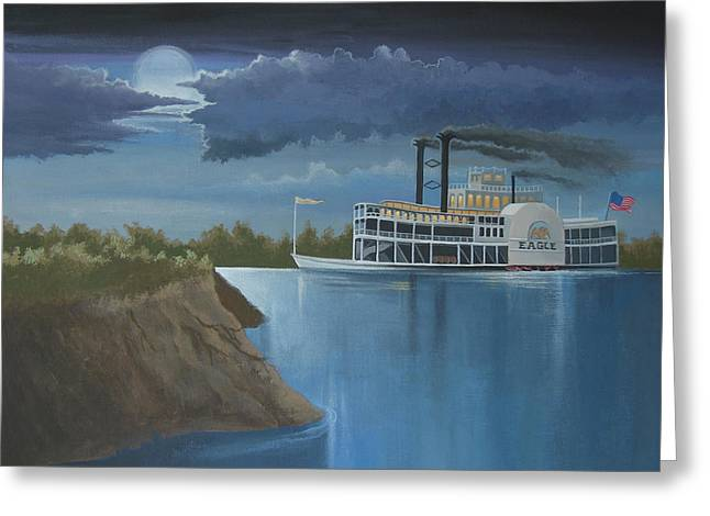 Night Scenes Greeting Cards - Steamboat on the Mississippi Greeting Card by Stuart Swartz
