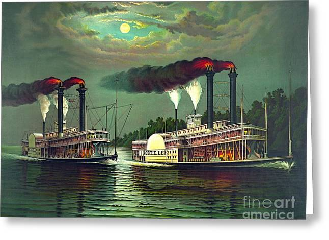 Steamboat Race 1883 Greeting Card by Padre Art