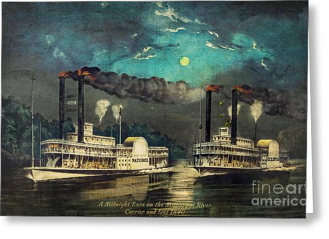 1880s Greeting Cards - Steamboat Racing on the Mississippi Greeting Card by Lianne Schneider
