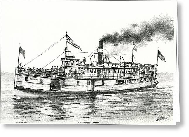 Puget Sound Drawings Greeting Cards - Steamboat RELIANCE Greeting Card by James Williamson
