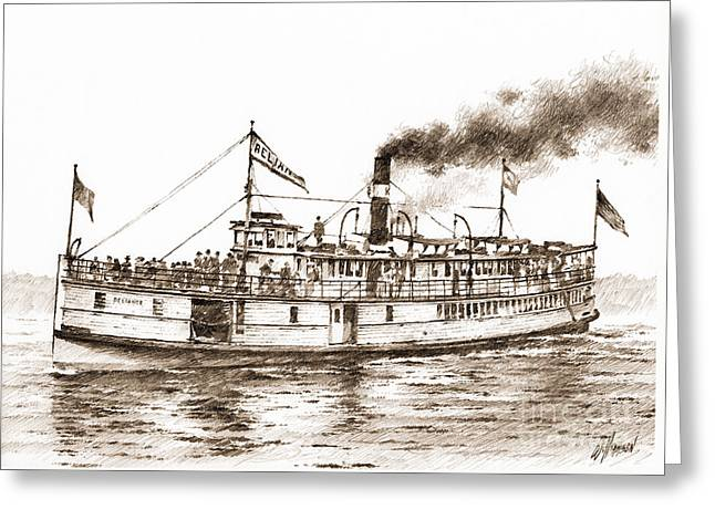 Seattle Framed Prints Greeting Cards - Steamboat RELIANCE Sepia Greeting Card by James Williamson