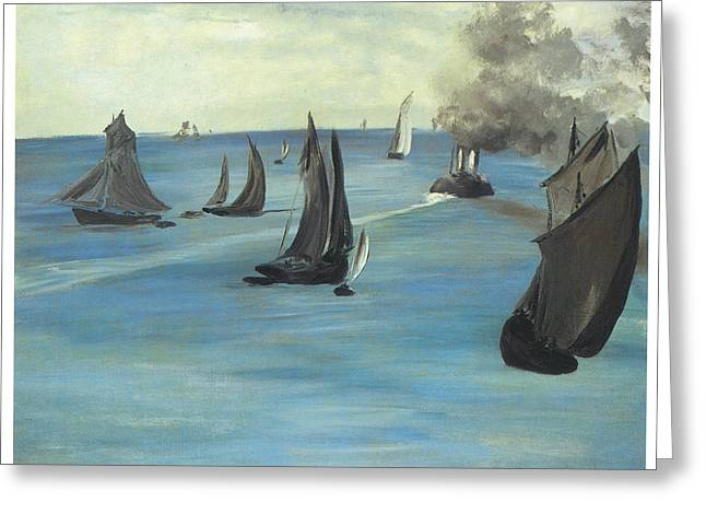Steamboat Greeting Cards - Steamboat Seascape of Sea View Calm Weather Greeting Card by Edouard Manet