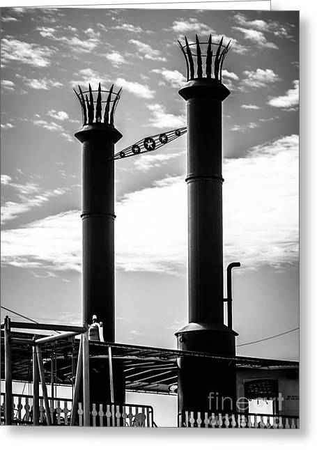 Smokestack Greeting Cards - Steamboat Smokestacks Black and White Picture Greeting Card by Paul Velgos