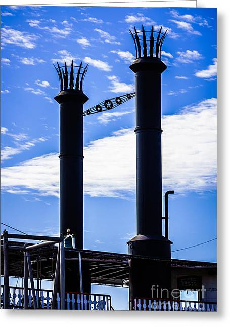 Smokestack Greeting Cards - Steamboat Smokestacks on the Natchez Steam Boat Greeting Card by Paul Velgos