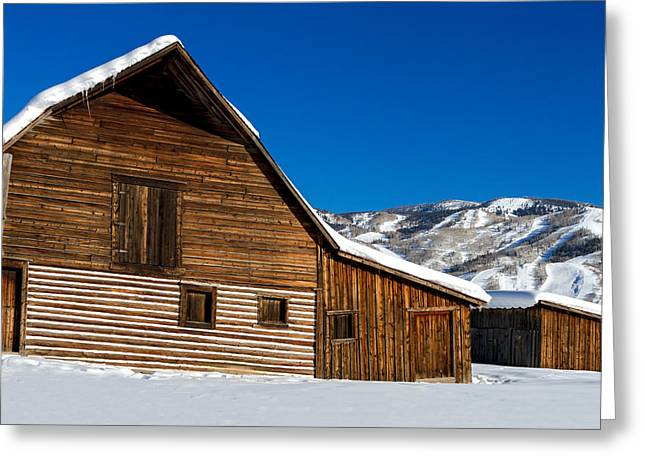 Steamboat Greeting Cards - Steamboat Springs Historic Barn Greeting Card by Teri Virbickis