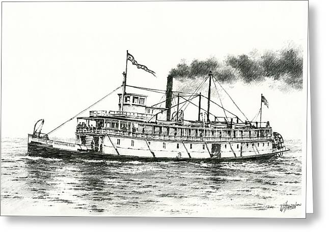 Puget Sound Drawings Greeting Cards - Steamboat State of Washington Greeting Card by James Williamson
