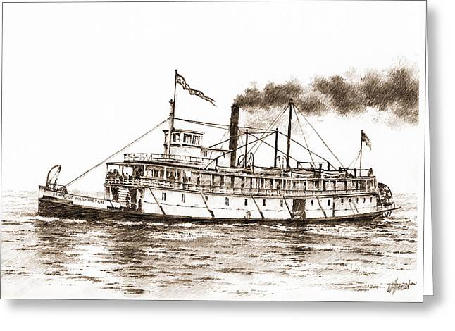 Puget Sound Drawings Greeting Cards - Steamboat State of Washington Sepia Greeting Card by James Williamson