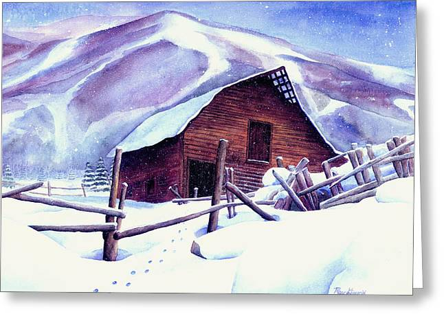 Steamboat Greeting Cards - Steamboat Winter Greeting Card by Mary Giacomini