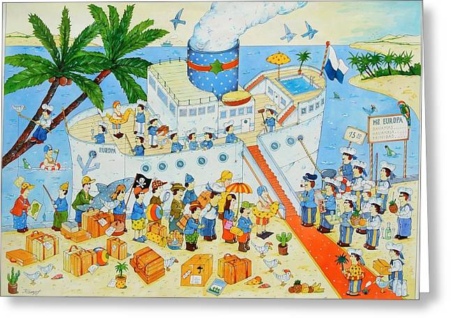 Boat Cruise Greeting Cards - Steamer, 2003 Wc On Paper Greeting Card by Christian Kaempf