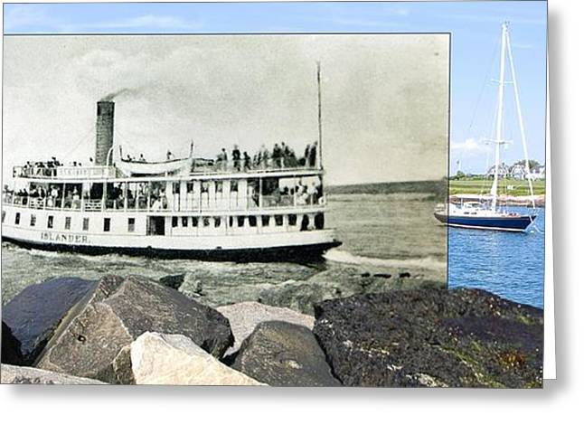 Historical Pictures Greeting Cards - Steamer Islander Leaves Sakonnet Point in Little Compton Rhode Island Greeting Card by Jeff Hayden