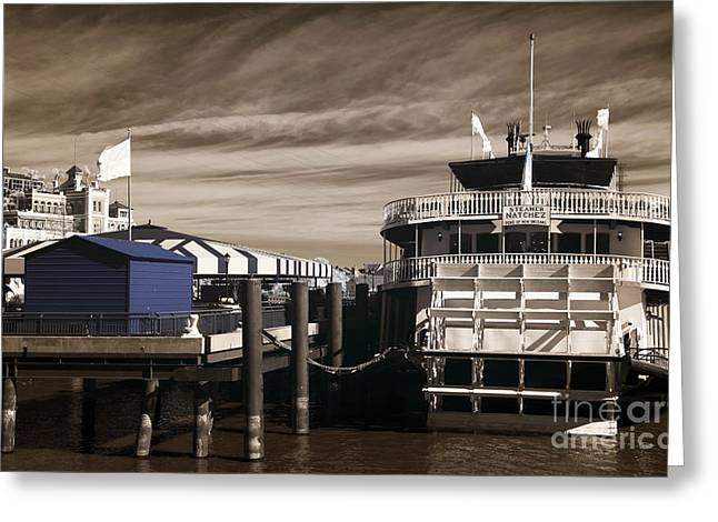 White Steamer Photos Greeting Cards - Steamer Natchez infrared Greeting Card by John Rizzuto