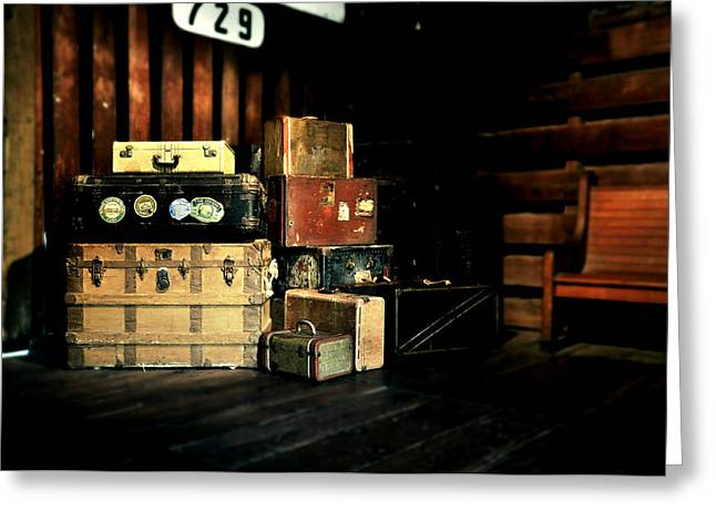 Vintage Trunk Greeting Cards - Steamer Trunks and Suitcases at Railroad Station Greeting Card by Rebecca Brittain