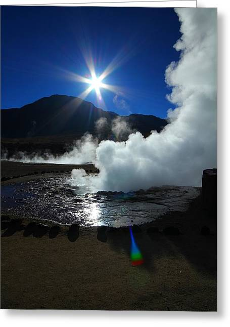 Geyser Greeting Cards - Steaming Desert Greeting Card by FireFlux Studios