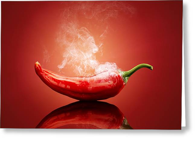 Hot Greeting Cards - Steaming hot Chilli Greeting Card by Johan Swanepoel