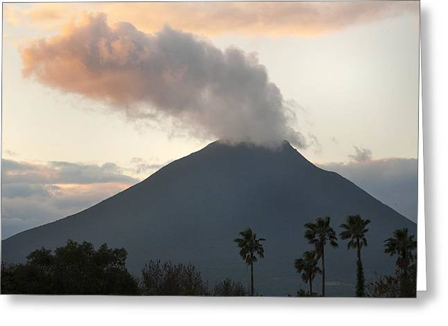 Steaming Greeting Cards - Steaming Volcano At Sunset Mount Greeting Card by Kevin Schafer