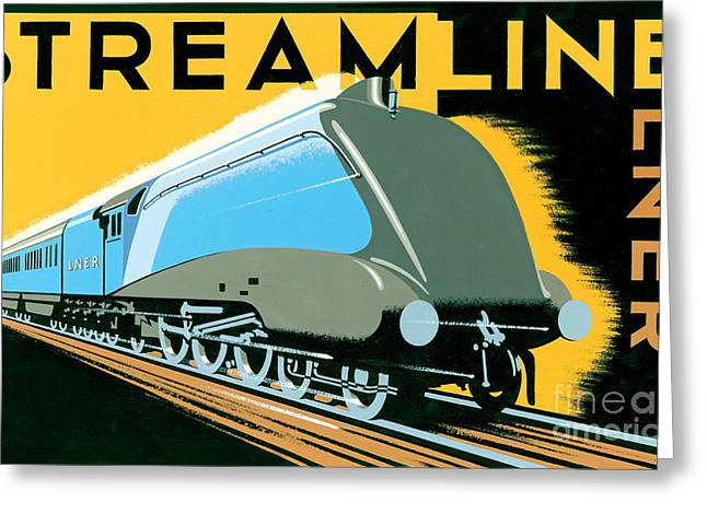 Streamliner Greeting Cards - Steamline Train Greeting Card by Brian James
