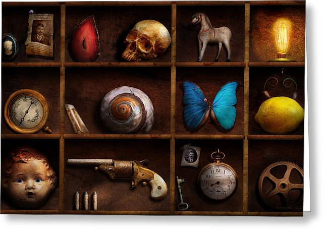 Macabre Guns Greeting Cards - Steampunk - A box of curiosities Greeting Card by Mike Savad