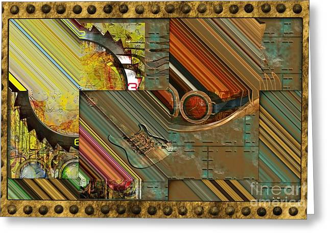 Component Digital Art Greeting Cards - Steampunk Abstract Greeting Card by Liane Wright