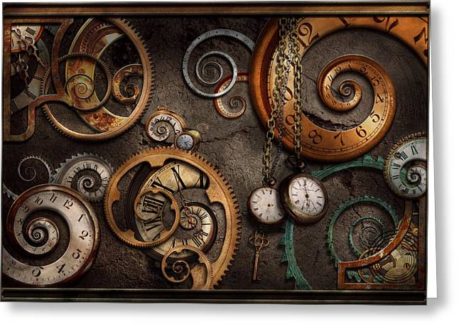 Clock Photographs Greeting Cards - Steampunk - Abstract - Time is complicated Greeting Card by Mike Savad