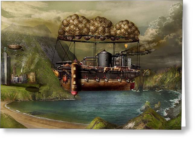 Wonderment Greeting Cards - Steampunk - Airship - The original Noahs Ark Greeting Card by Mike Savad