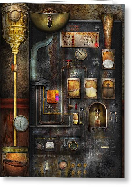 Suburbanscenes Greeting Cards - Steampunk - All that for a cup of coffee Greeting Card by Mike Savad