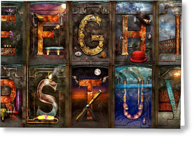 Entire Greeting Cards - Steampunk -  Alphabet - Banner Version Complete Greeting Card by Mike Savad