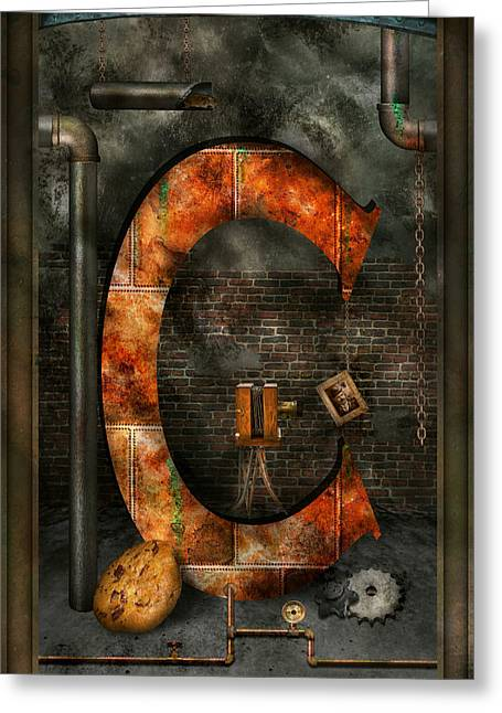 Science Greeting Cards - Steampunk - Alphabet - C is for Chain Greeting Card by Mike Savad