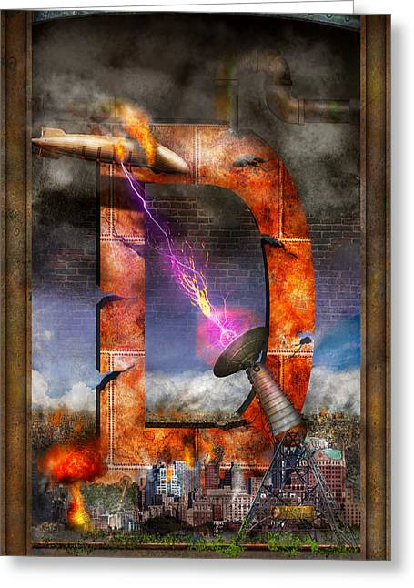 Dystopian Greeting Cards - Steampunk - Alphabet - D is for Death Ray Greeting Card by Mike Savad