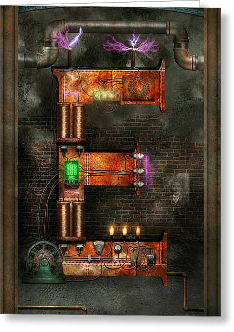 Interior Scene Greeting Cards - Steampunk - Alphabet - E is for Electricity Greeting Card by Mike Savad