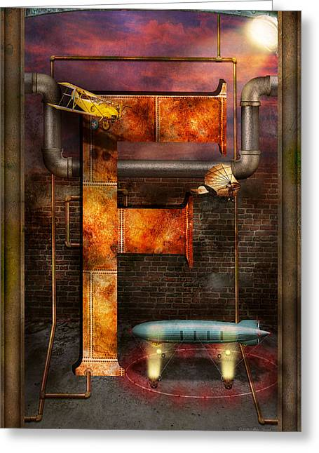 Science Greeting Cards - Steampunk - Alphabet - F is for Flying Machine Greeting Card by Mike Savad