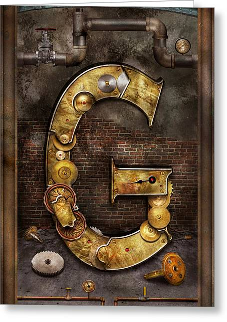 Steampunk - Alphabet - G Is For Gears Greeting Card by Mike Savad