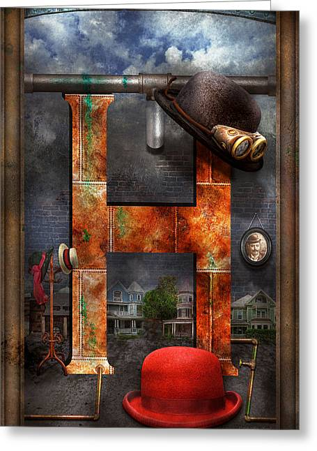 Science Greeting Cards - Steampunk - Alphabet - H is for Hats Greeting Card by Mike Savad