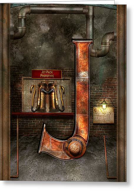 Letter J Greeting Cards - Steampunk - Alphabet - J is for Jet Pack Greeting Card by Mike Savad