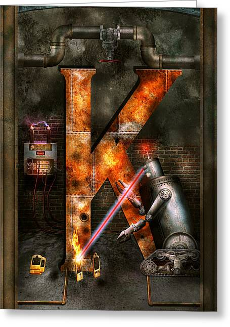 High Voltage Greeting Cards - Steampunk - Alphabet - K is for Killer Robots Greeting Card by Mike Savad