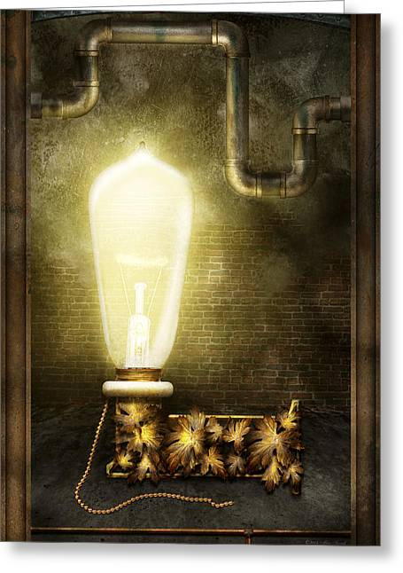 Edison Greeting Cards - Steampunk - Alphabet - L is for Light Bulb Greeting Card by Mike Savad