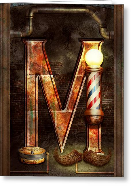 Groomer Greeting Cards - Steampunk - Alphabet - M is for Mustache Greeting Card by Mike Savad