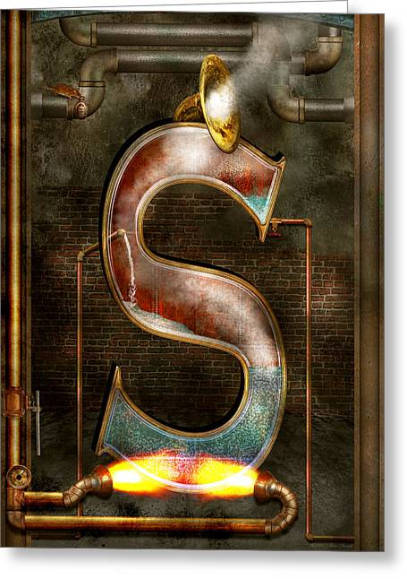 Recently Sold -  - Science Greeting Cards - Steampunk - Alphabet - S is for Steam Greeting Card by Mike Savad