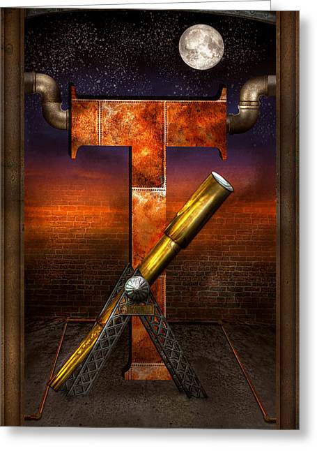 Self Discovery Greeting Cards - Steampunk - Alphabet - T is for Telescope Greeting Card by Mike Savad
